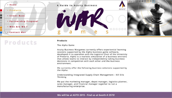 Website Design Portfolio - Acquity Business War Games