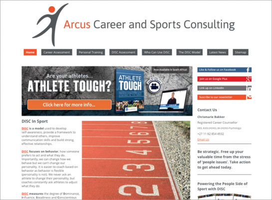 Website Design Portfolio - Arcus Career and Sports Assessments Consulting