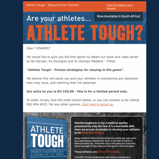 Email Marketing - Athlete Tough DVD Series