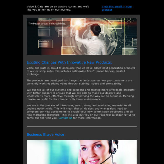 Email Marketing - Voice and data client newsletter