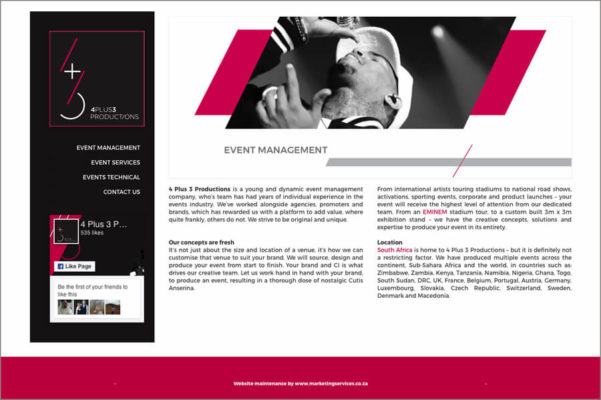 Website Design Portfolio - 4Plus3 Event Productions