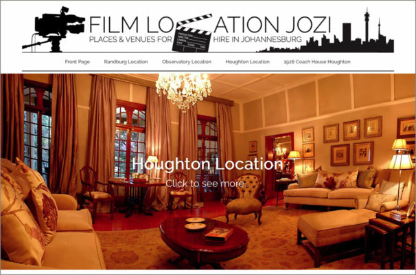 Website Design Portfolio - Film Location Jozi - Film Locations for hire