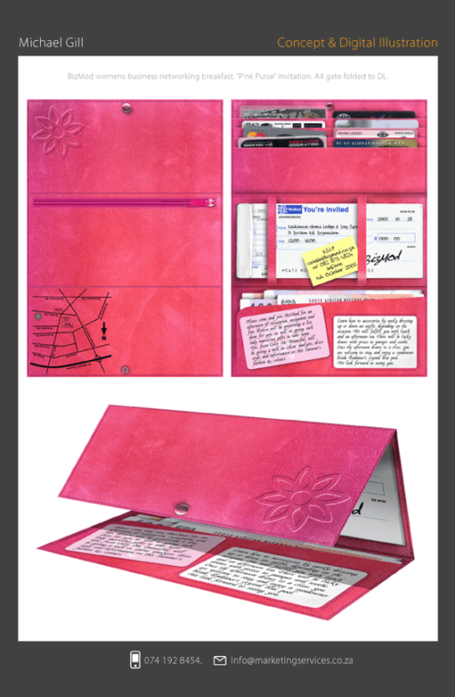 DTP Design Portfolio - INVITATIONS - PINK PURSE