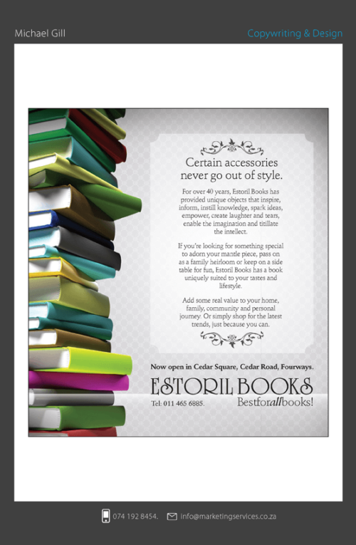 DTP Design Portfolio - ESTORIL BOOKS ACCESSORIES CAMPAIGN
