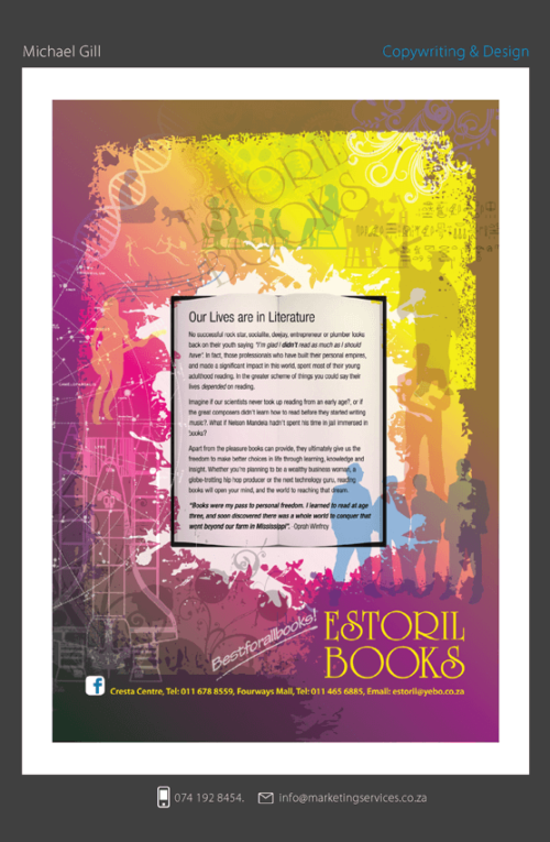 DTP Design Portfolio - ESTORIL BOOKS LITERATURE CAMPAIGN