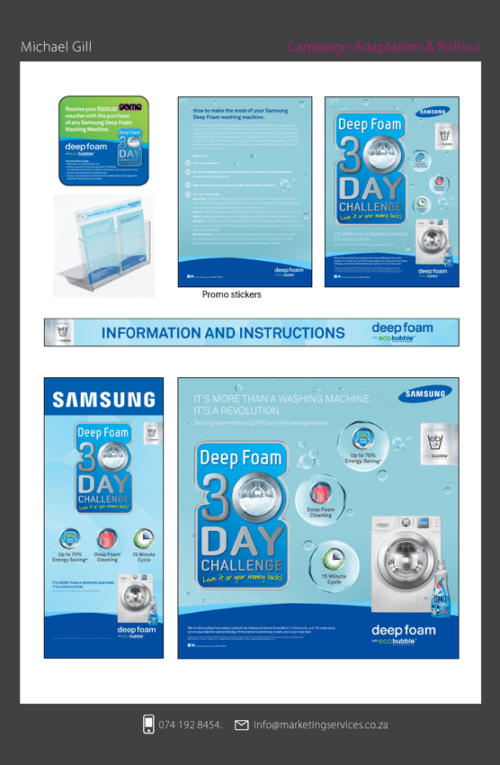 DTP Point of sale marketing example 1 SAMSUNG DEEP FOAM CAMPAIGN 1